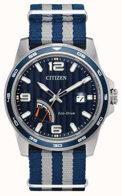 Citizen Męski zegarek z czarnej, ekologicznej tkaniny rezerwowej AW7038-04L