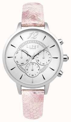 Lipsy Womans srebrny, skórzany pasek chrono w kolorze różowym LP506