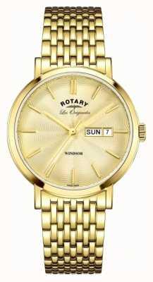 Rotary Męski, złocony pasek windsor GB90156/03
