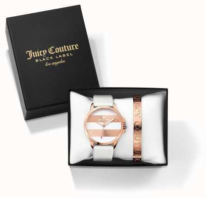 Juicy Couture Womans fergi biało różowe złoto bransoletka zegarek zestaw podarunkowy 1950007