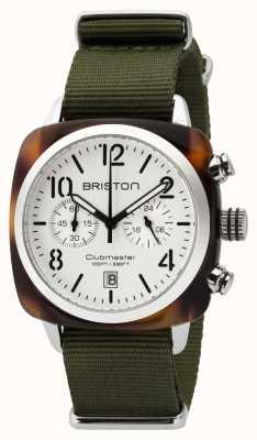 Briston Mens clubmaster classic octan chrono żółw biały 16140.SA.T.2.NGA