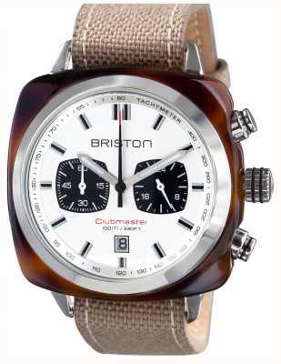 Briston Mens clubmaster sport octan żółw shell chrono biały 15142.SA.TS.2.LSK