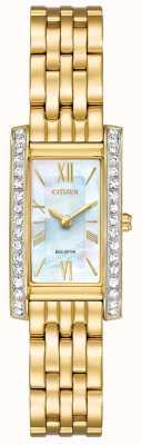 Citizen Oblubienica damska sylwetka crystal eco-drive z platerowanym złotem EX1472-81D