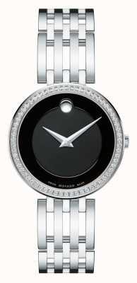 Movado Kobiet esperanza 63-ramka z diamentem czarna tarcza 0607052