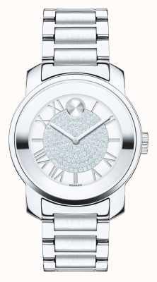 Movado Odważny, średni, luksusowy srebrny kryształ k1 ze stali nierdzewnej 3600254