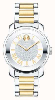 Movado Odważny, średni dwukolorowy srebrny złoty kryształ k1 3600256