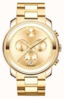 Movado Duży odważny, chronograf z żółtego złota pokryty jonami kryształu k1 3600278