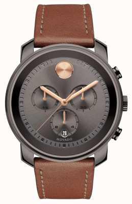 Movado Pogrubiony męski zegarek z chronografem z szarym zegarem 3600421
