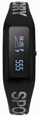 Superdry Unisex fitness tracker z czarnym silikonowym paskiem SYG202B