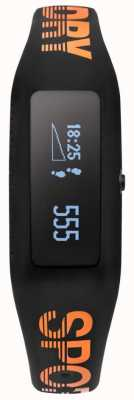 Superdry Unisex fitness tracker czarny pomarańczowy pasek silikonowy SYG202BO