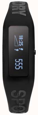 Superdry Unisex fitness tracker z czarnym silikonowym paskiem SYG202BB