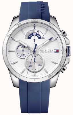 Tommy Hilfiger Męski chronograf z niebieskiej gumy i bieli 1791349