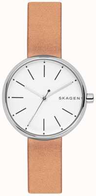Skagen Womans signatur jasnobrązowy biały skórzany tarcza SKW2594
