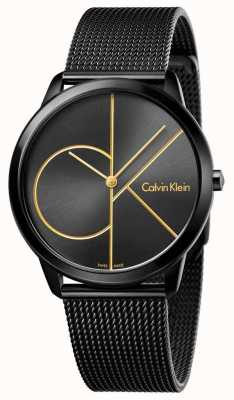 Calvin Klein Męska minimalna czarna siatka ze stali nierdzewnej K3M214X1
