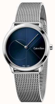 Calvin Klein Womans minimalna stal nierdzewna, niebieska tarcza K3M2212N