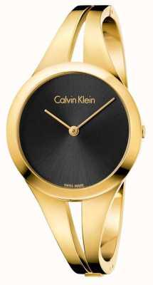 Calvin Klein Womans nałogowa złota stonowana bransoletka czarna tarcza K7W2M511