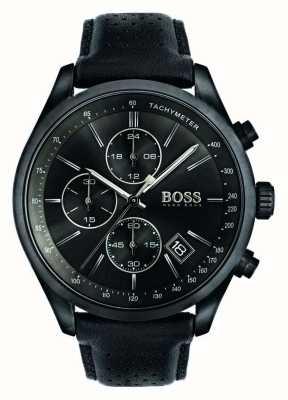 Boss Męski grand prix chronograf czarny skórzany pasek czarna tarcza 1513474