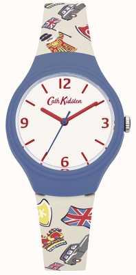 Cath Kidston Womans biały brytyjski pasek z grafiką silikonową CKL026CU