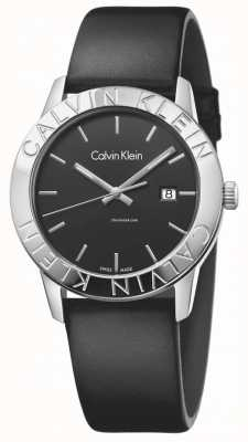 Calvin Klein Womans - czarna czarna tarcza z czarnej skóry K7Q211C1