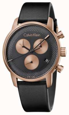 Calvin Klein Chronograf męski miejski niebieska tarcza czarna skóra K2G17TC1