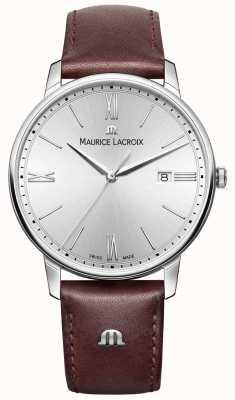Maurice Lacroix Męski eliros brązowy skórzany pasek srebrnej tarczy EL1118-SS001-110-1