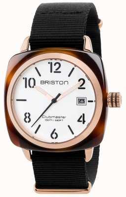 Briston Mens clubmaster klasyczny czarny pasek z tkaniny biały wybierania 17240.PRA.T.2.NB
