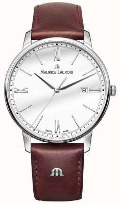 Maurice Lacroix Męski zegarek z brązowego skórzanego paska marki Eliros EL1118-SS001-113-1