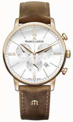 Maurice Lacroix Męski skórzany pasek chronografu z brązowej skóry cielęcej z eliros EL1098-PVP01-113-1