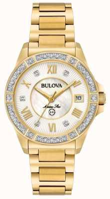 Bulova Womans marine star diamond tone w kolorze złotym 98R235