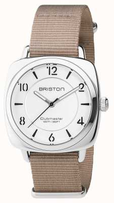 Briston Unisex klubowy elegancki szara beżowa stal z paskiem nato 17536.S.L.2.NT