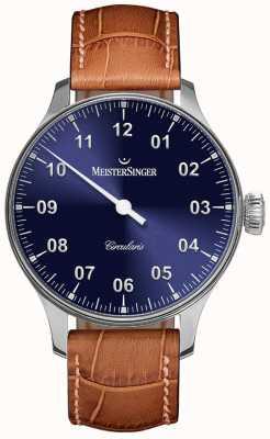MeisterSinger Męskie okrągłe ręcznie nawijane na kolor niebieski CC308