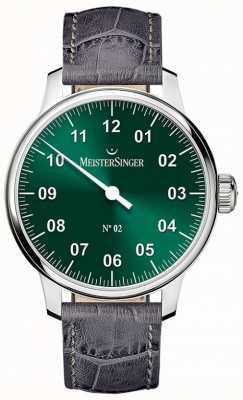 MeisterSinger Męskie klasyczne nie. 2 ręcznie nawijane słońce w kolorze zielonym AM6609N