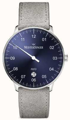 MeisterSinger Męska forma i styl neo plus automatyczny niebieski sunburst NE408