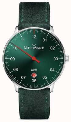 MeisterSinger Męska forma i styl neo plus automatyczna sunburst zielona NE409