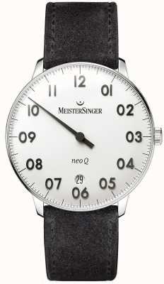 MeisterSinger Męska forma i styl neo q ze stali nierdzewnej i czarnym zamszem NQ901N