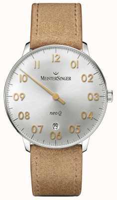 MeisterSinger Męska forma i styl neo q quarz sunburst srebrny NQ901GN