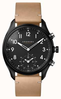 Kronaby 43mm apex bluetooth czarna obudowa pvd / beżowy skórzany smartwatch A1000-0730