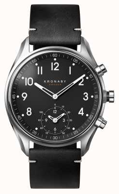 Kronaby Czarny skórzany pasek 43 mm apex bluetooth a1000-1399 S1399/1