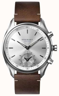 Kronaby Skórzany smartwatch z ciemnobrązową skórą 43mm A1000-0714