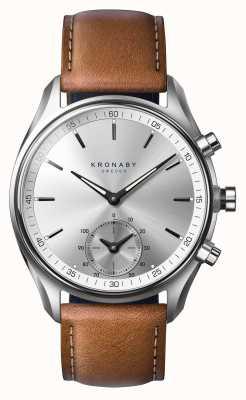 Kronaby 42-calowy zegarek bluel z brązową skórą A1000-0713