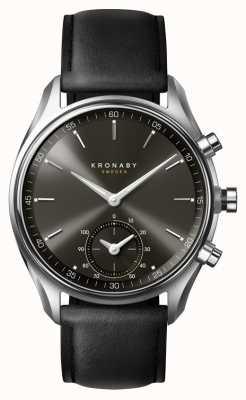 Kronaby 43mm sekel bluetooth czarna tarcza / skórzany pasek smartwatch A1000-0718