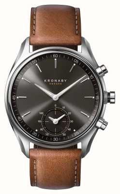 Kronaby 43mm sekel bluetooth brązowa skórzana czarna tarcza smartwatch A1000-0719