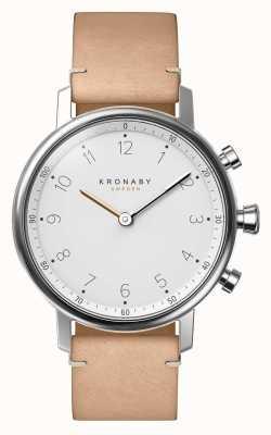Kronaby Zegarek smartwatch 38mm bluetooth beżowy ze skórzanym paskiem A1000-0712