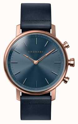 Kronaby 38mm karatowy bluetooth z różowego złota, niebieski skórzany zegarek A1000-0669