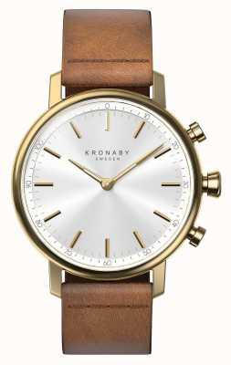 Kronaby 38mm karatowy bluetooth brązowy skórzany pasek smartwatch A1000-0717