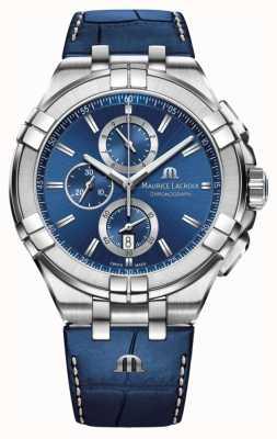 Maurice Lacroix Męski niebieski skórzany pasek chronografu aikon blue AI1018-SS001-430-1