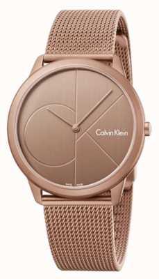 Calvin Klein Męska minimalistyczna bransoleta ze złotej, brązowej siatki ze stali nierdzewnej K3M11TFK