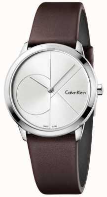 Calvin Klein Womans minimalny brązowy skórzany pasek srebrna tarcza K3M221G6
