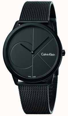 Calvin Klein Męska minimalna czarna siatka ze stali nierdzewnej K3M514B1