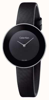 Calvin Klein Womans elegancki czarny skórzany pasek czarna tarcza K7N23CB1